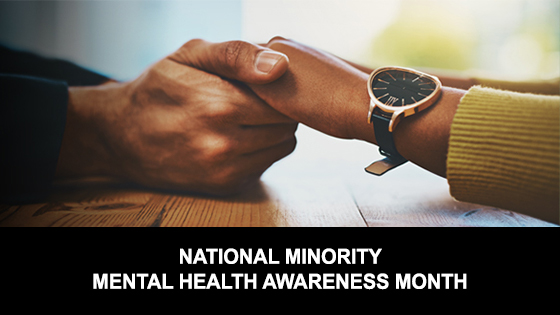 Minority Mental Health Month Image of hands holding hands